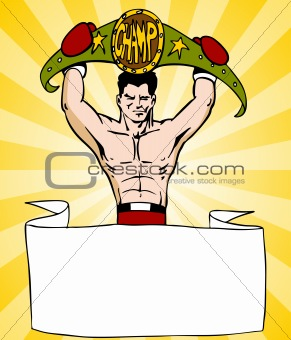 Champion Boxer With Sign