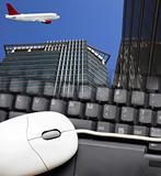 airplane and the modern building