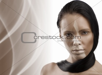 beauty girl with art make up