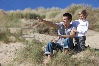 Man & Boy, Father and Son Having Fun At Beach