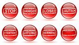 glossy balls with warning signs