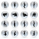 glossy balls with human silhouettes