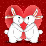Valentines Day White Bunny Rabbits Kissing