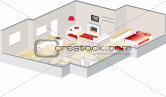 architects 3d floorplan of a house or apartment