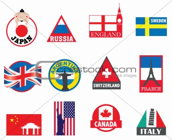 country symbols, flags and sticker designs