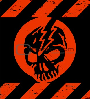 Skull Symbol red Danger. Vector