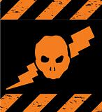 Skull Symbol orange Danger. Vector