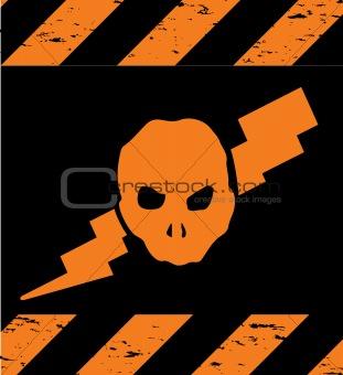 Skull Symbol orange Danger. Vector