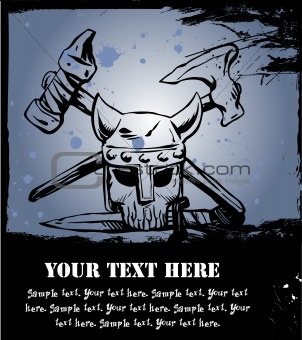 Viking Skull in helmet. Vector
