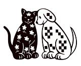 Cat And Dog Silhouette. Vector