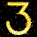 Number Golden Lights with Glitter and Sparkles