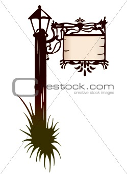 Wooden Post With Signboard, Lantern. Vector
