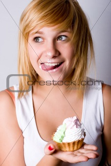funny young woman with cake