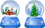 Two Christmas Snow Globes