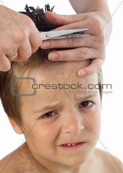Little boy suffering during his haircut