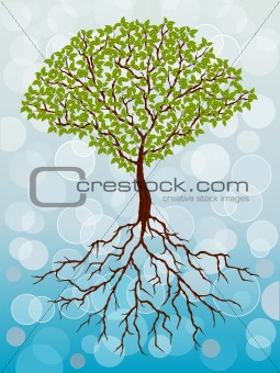 Abstract background with a tree. Vector illustration.