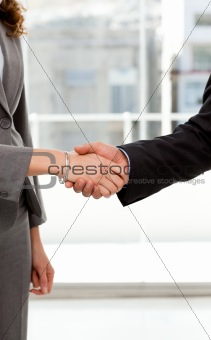 Close up of a businessman and businesswoman shaking their hands