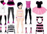 Girl with dresses .  Emo stile