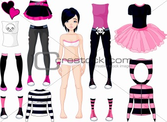 Girl with dresses .  Emo stile