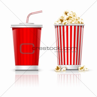 full glasses with drink and popcorn