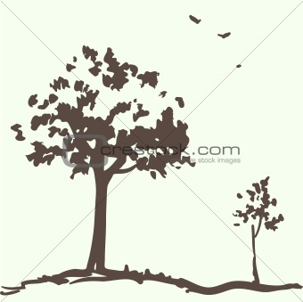 card design with trees