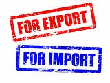 For import and for export stamps