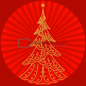 Christmas fir-tree on red
