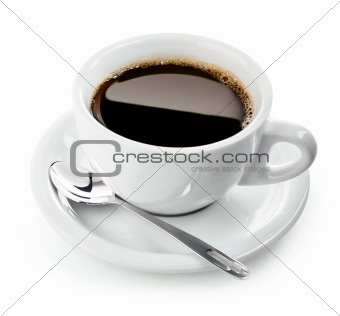 cup of coffee on saucer with spoon