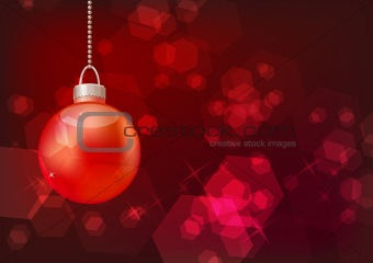 Bright sparkling background with hanging ball
