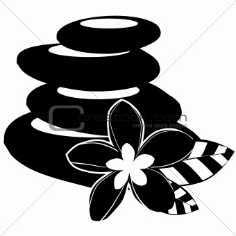 Black-and-white spa stones and flowers isolated