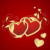 Red hearts with floral decoration