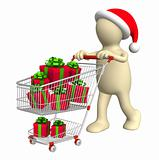 Consumer with shopping cart and gifts