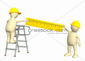 3d puppets - builders with ruler