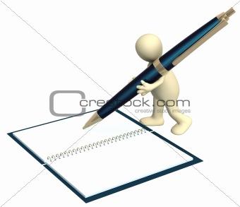 3d puppet with a pen
