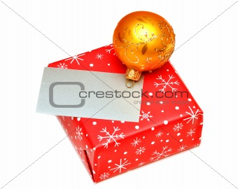 blank greeting card or gift card on Christmas box