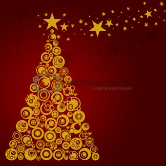 Abstract Christmas Tree with Circles Stars and Hearts