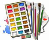 Art supplies: watercolor paints, brushes, pencils, eraser, palette, paper