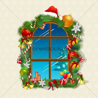 christmas card with gifts on window