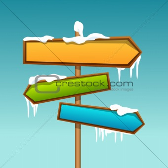 snowy direction board