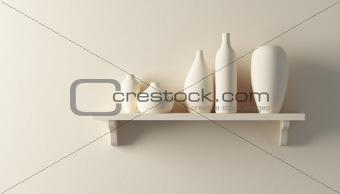 ceramics vases on the shelf