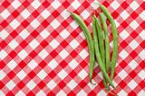 bean pods on checkered background
