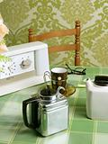 coffee machine retro kitchen green tablecloth