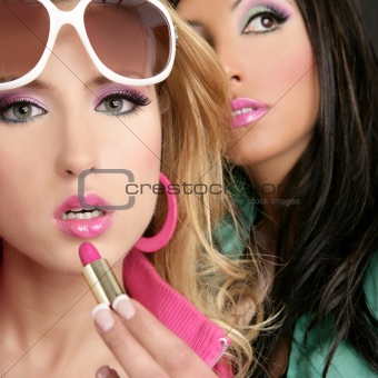 fashion barbie doll style girls pink lipstip makeup