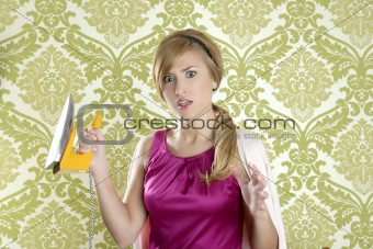 Hysterical retro woman vintage iron wallpaper