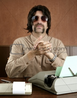 mustache retro businessman vintage office
