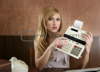 accountant retro secretary vintage calculator