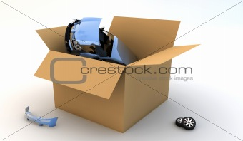 Car in a cardboard box