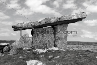 ancient poulnabrone dolmen tomb in black and white