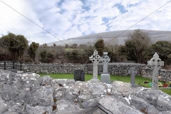 celtic crosses in irish graveyard