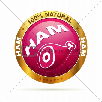 100 percent natural HAM | isolated editable vector graphic